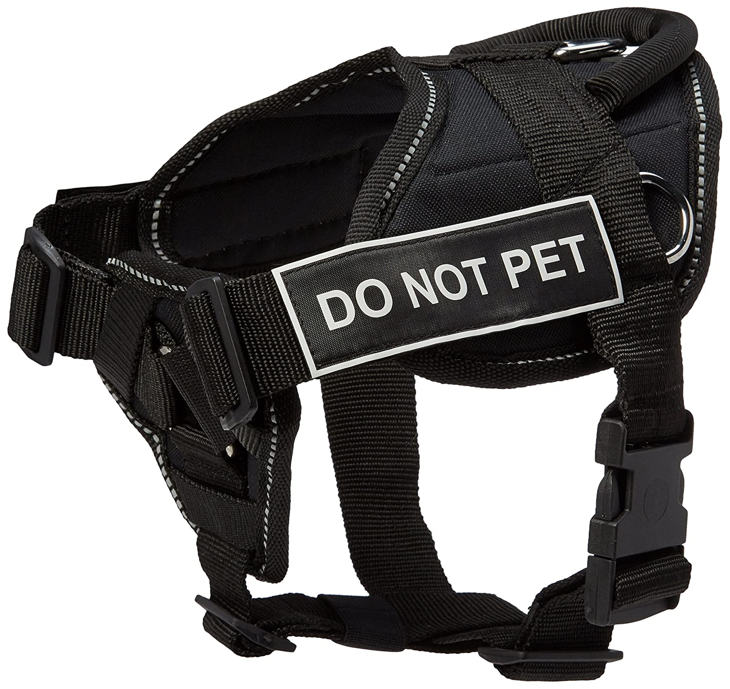 Dean & Tyler Black with Reflective Trim Fun Dog Harness with Padded Chest Piece, Do Not Pet, Small, Fits Girth Size 22-Inch to 27-Inch