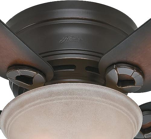 Hunter Fan 42 inch Low Profile Ceiling Fan in Snow White with Light Kit, 5 Blade Renewed Onyx Bengal