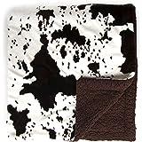 Sleeping Partners Cowhide Print and Sherpa Plush Throw Blanket