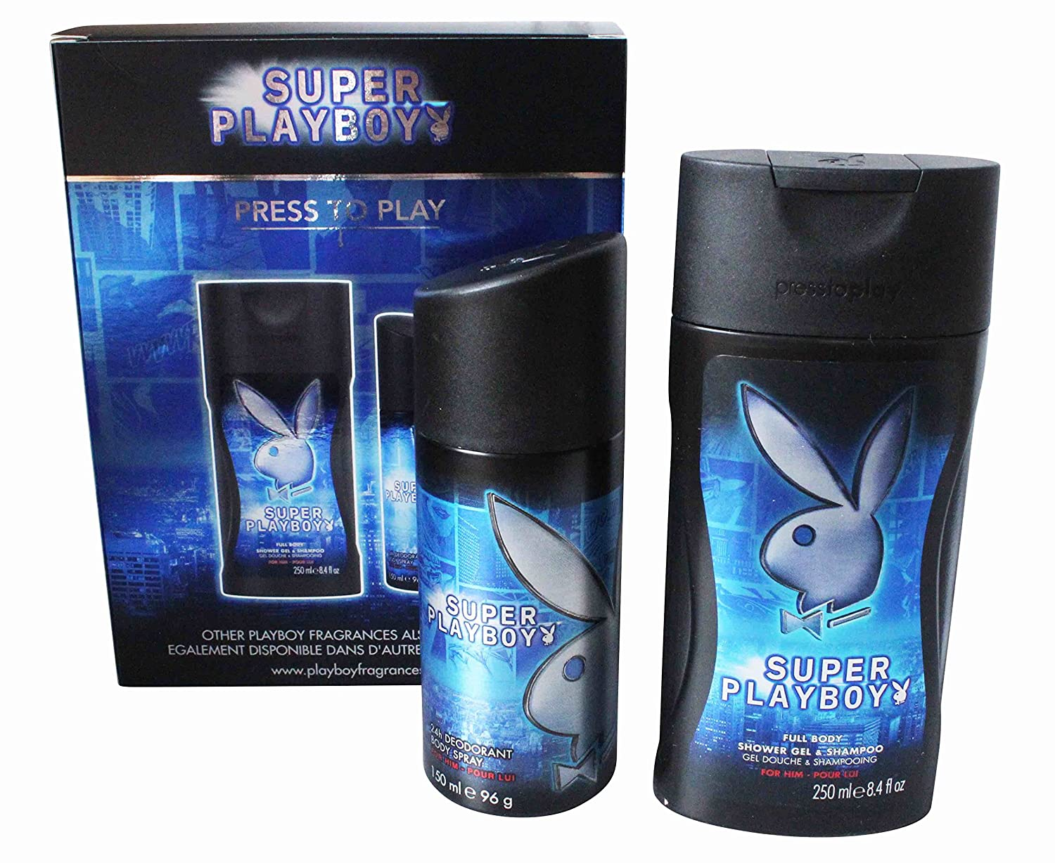 Playboy – Playboy Bath & Body Set para hombres: Gel de ducha 250 ml y 150 ml deo spray