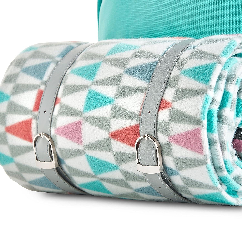 Incluye vajilla Y Manta de Lana VonShef Cesta de Mochila Aqua Geo para Picnic para 4 Personas con Compartimiento Refrigerante