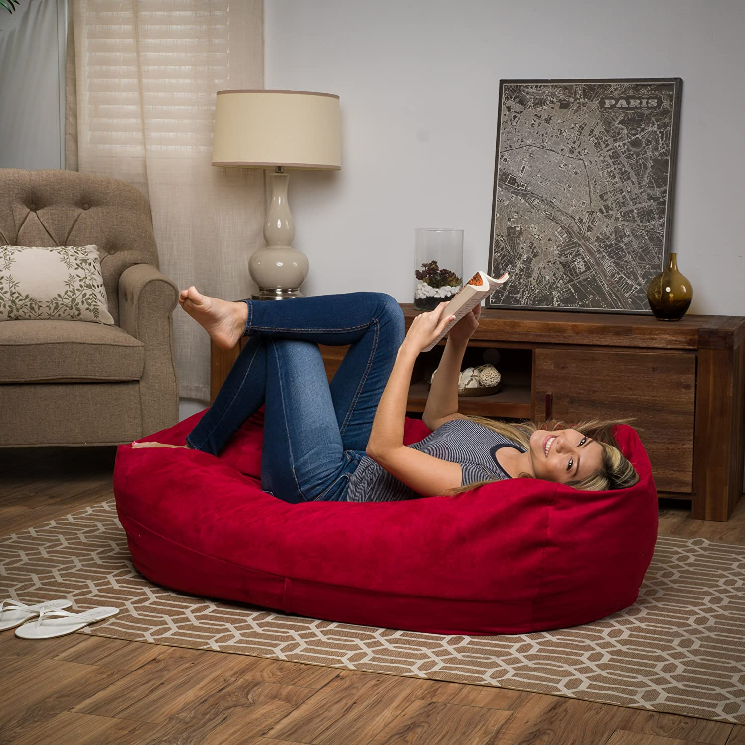 Great Deal Furniture 296770 Cassell Red Fabric 4-Foot Lounge Beanbag Chair,
