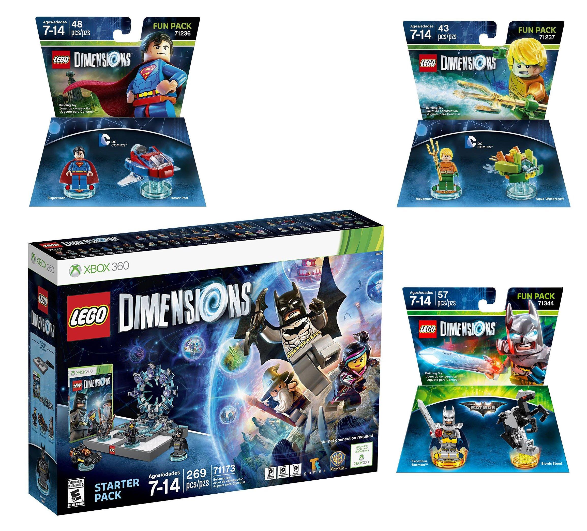 Lego Dimensions DC Comics Super Heroes Starter Pack + Superman + Batman + Aquaman Fun Packs for Xbox 360 Console