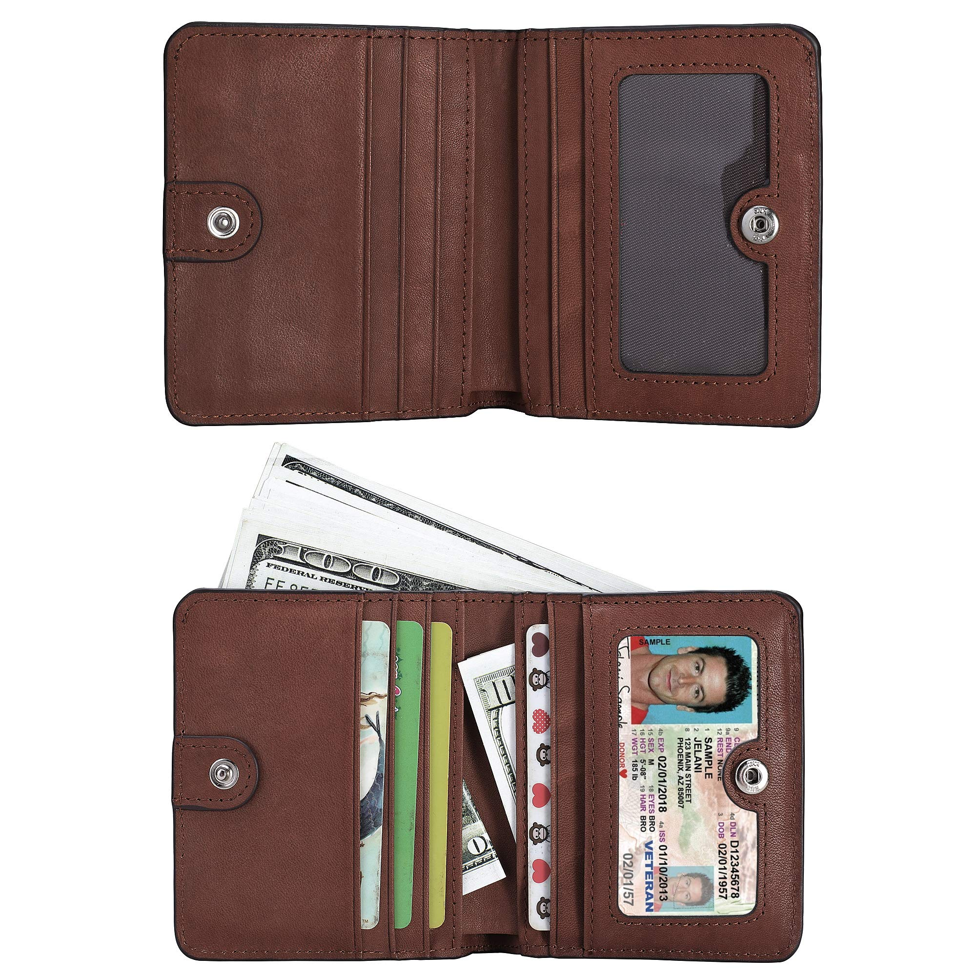 BIG SALE-AINIMOER Women's RFID Blocking Leather Small Compact Bifold Pocket Wallet Ladies Mini Purse with id Window (Vintage Brown) by AINIMOER (Image #3)