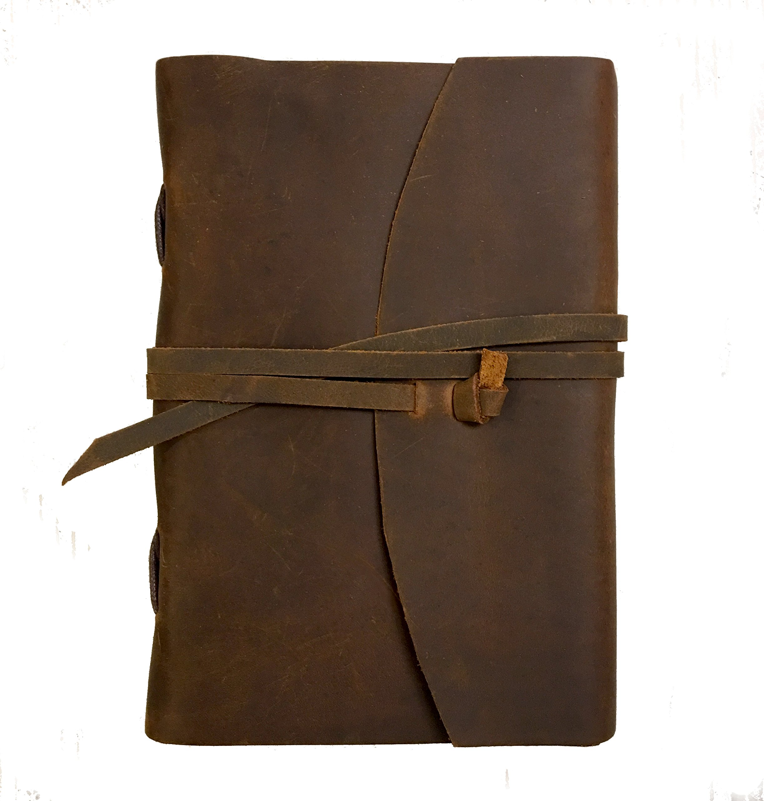 Handmade Crazy Horse Leather Journal – Vintage Style – Rustic, Unique Color & Texture – 8.75 x 6.25 inches - 320 Pages – Great Organizer, Diary or Journal – Blank, Cream Colored Paper