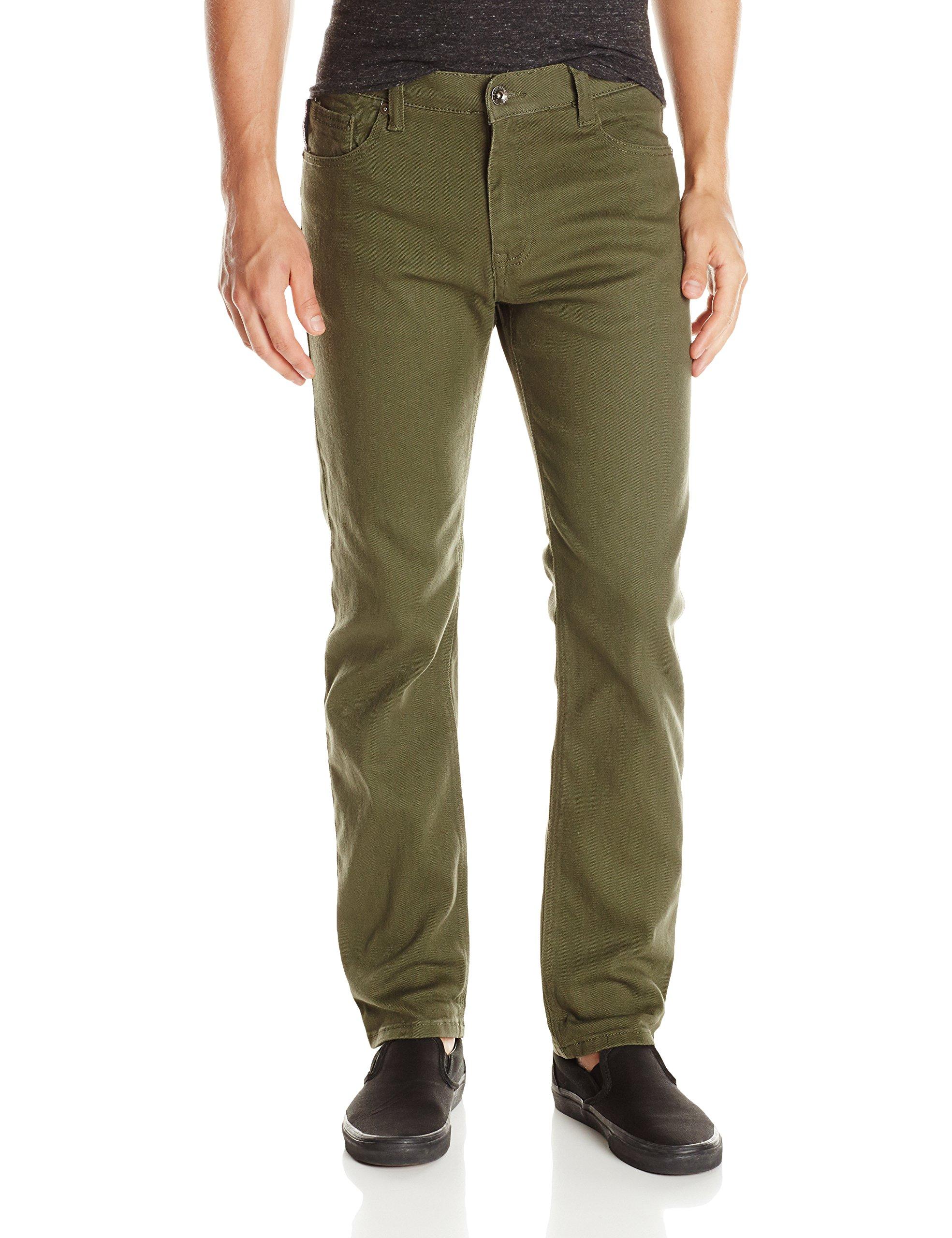 Southpole Men's Flex Stretch Basic Twill and Rinse Denim Pants, Olive, 34x32