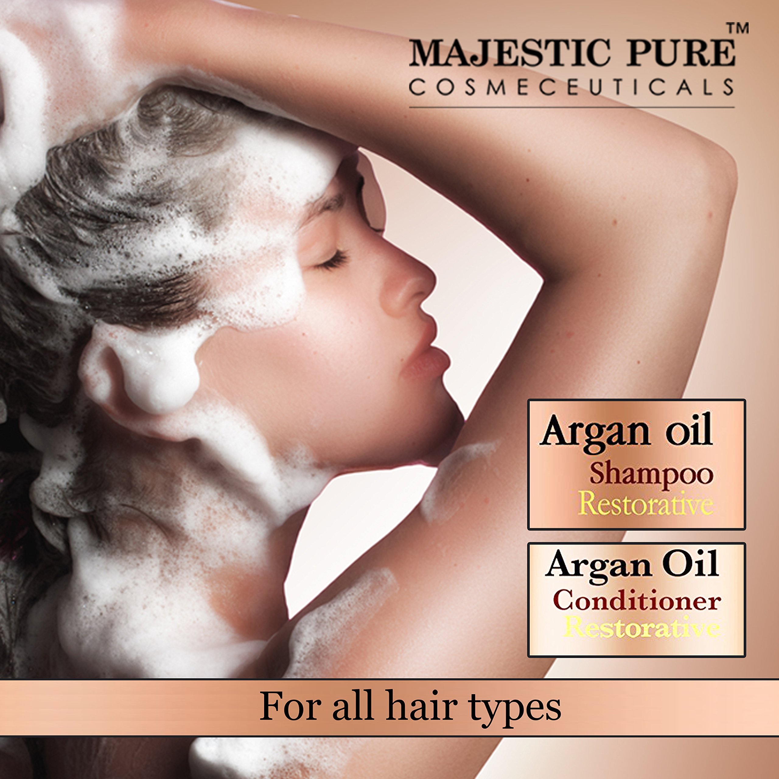 Argan Oil Shampoo and Conditioner, from Majestic Pure, Sulfate Free, Vitamin Enriched, Volumizing & Gentle Hair Restoration Formula for Daily Use, For Men and Women, 16 fl oz each … by Majestic Pure (Image #3)