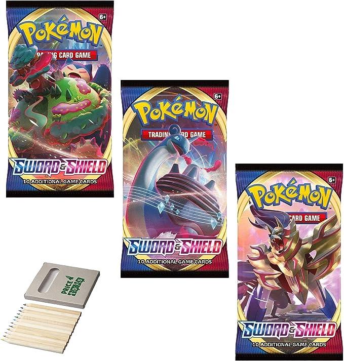 Price Toys Pokemon TCG: Sword & Shield Booster | 30 Cartas y Juego de Colorear (3 Pack S&S): Amazon.es: Juguetes y juegos