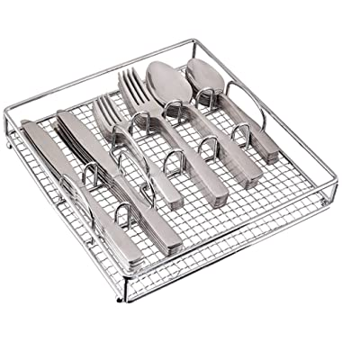Gibson Home Abbeville 61 Piece Flatware Set with Wire Caddy
