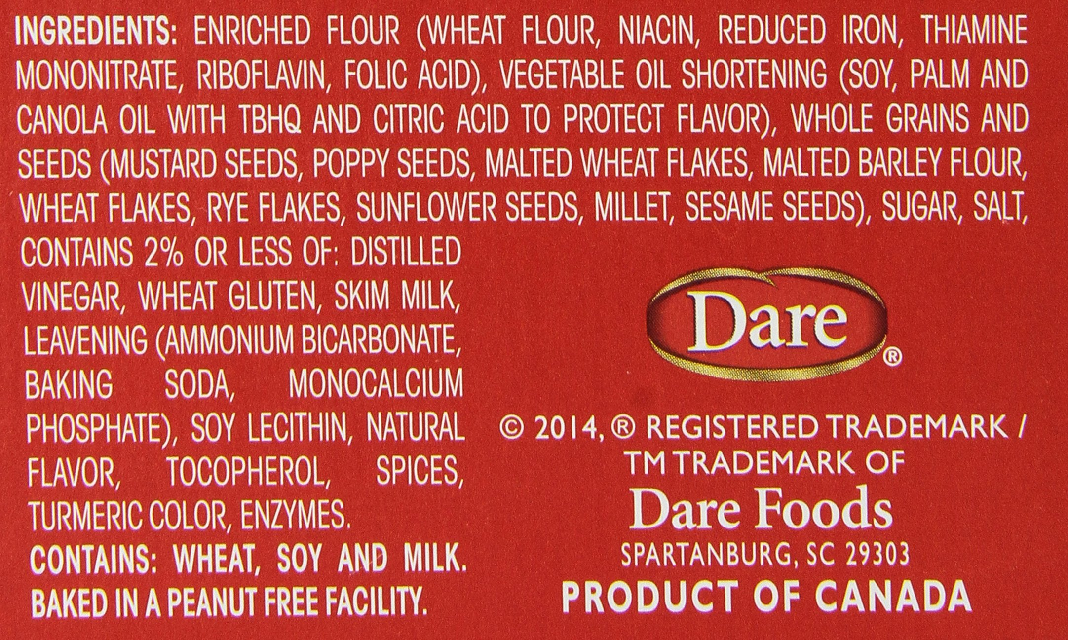 Vinta Crackers, Original – Delicious Bold Taste of 8 Grains and Seeds – No Artificial Flavors, No Cholesterol, Peanut Free - Delicious Plain or Topped, 8.8-ounce. (Pack of 12) by Dare (Image #3)