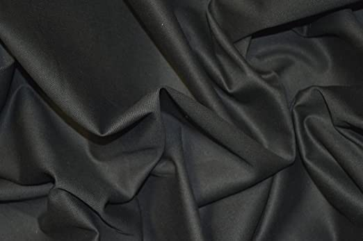 Tejido de algodón elástico, 98% algodón y 2% elastano, 150 cm de ancho, se vende por metros, color negro: Amazon.es: Hogar