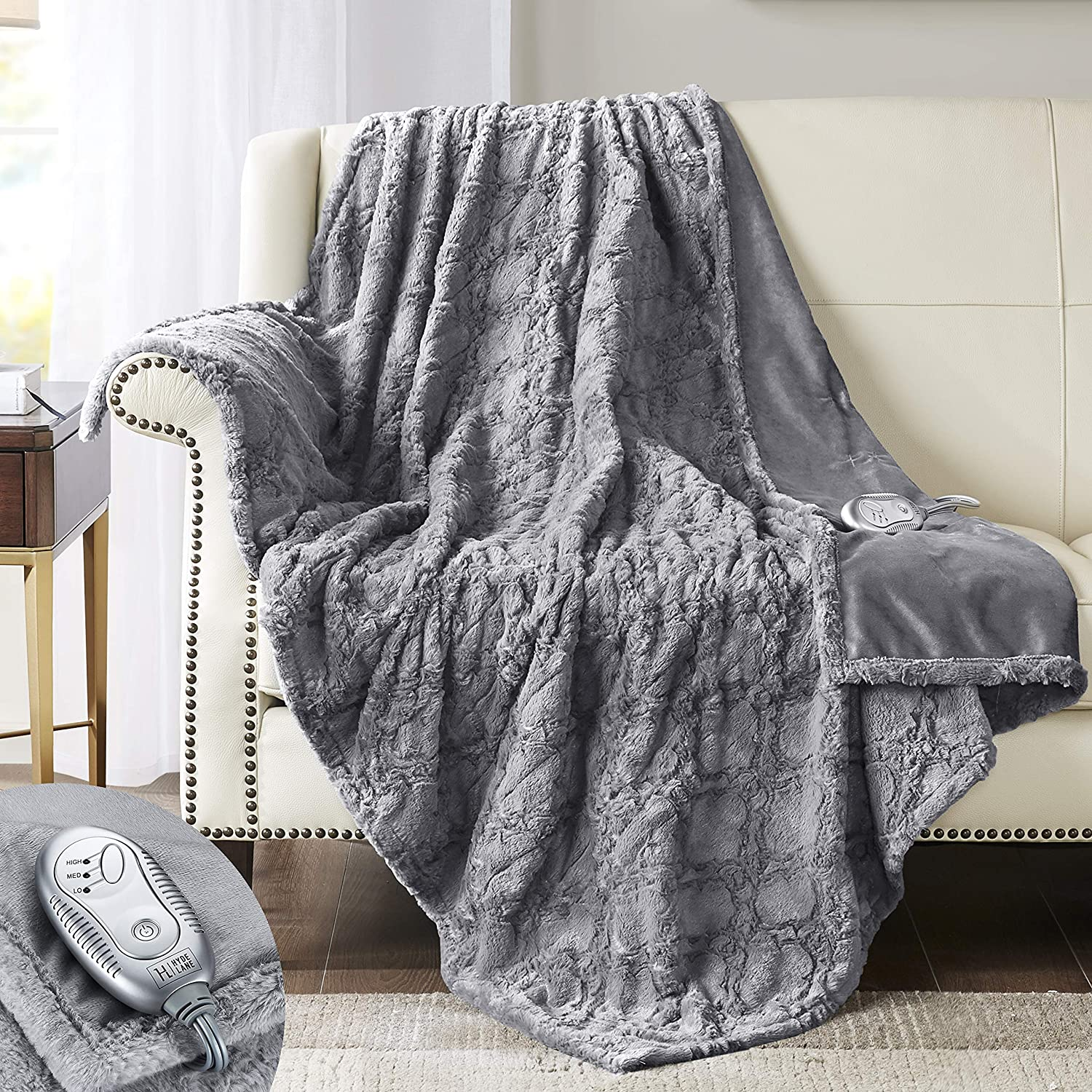 """Hyde Lane [Premium Heated Faux Fur Throw Blanket Grey, 50x60"""" – Brushed Underside, Long Faux Fur Fibers Top