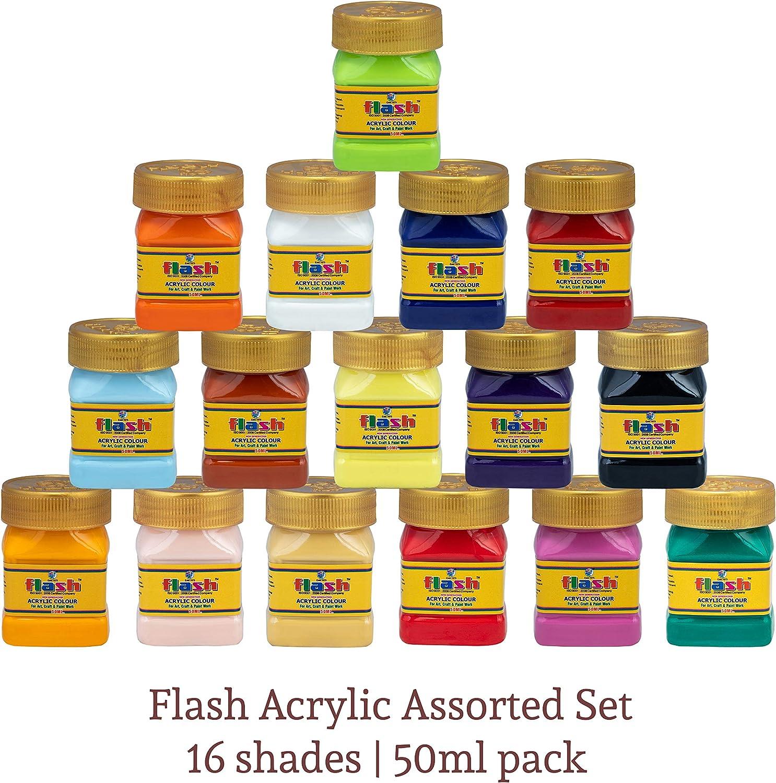 Flash Acrylic Paint Set,16 Colors (50 ml, 1.7 oz) Art Supplies Paint Set with Storage Box, Rich Pigments, Non Fading, Non Toxic Paints, Multi-Surface Paint for Artist, Hobby Painters & Kids