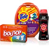 Tide PODS 3 in 1 HE Turbo Laundry Detergent Pacs with Downy Unstopables in-Wash Scent Booster Beads & Bounce Outdoor Fresh Fabric Softener Sheets