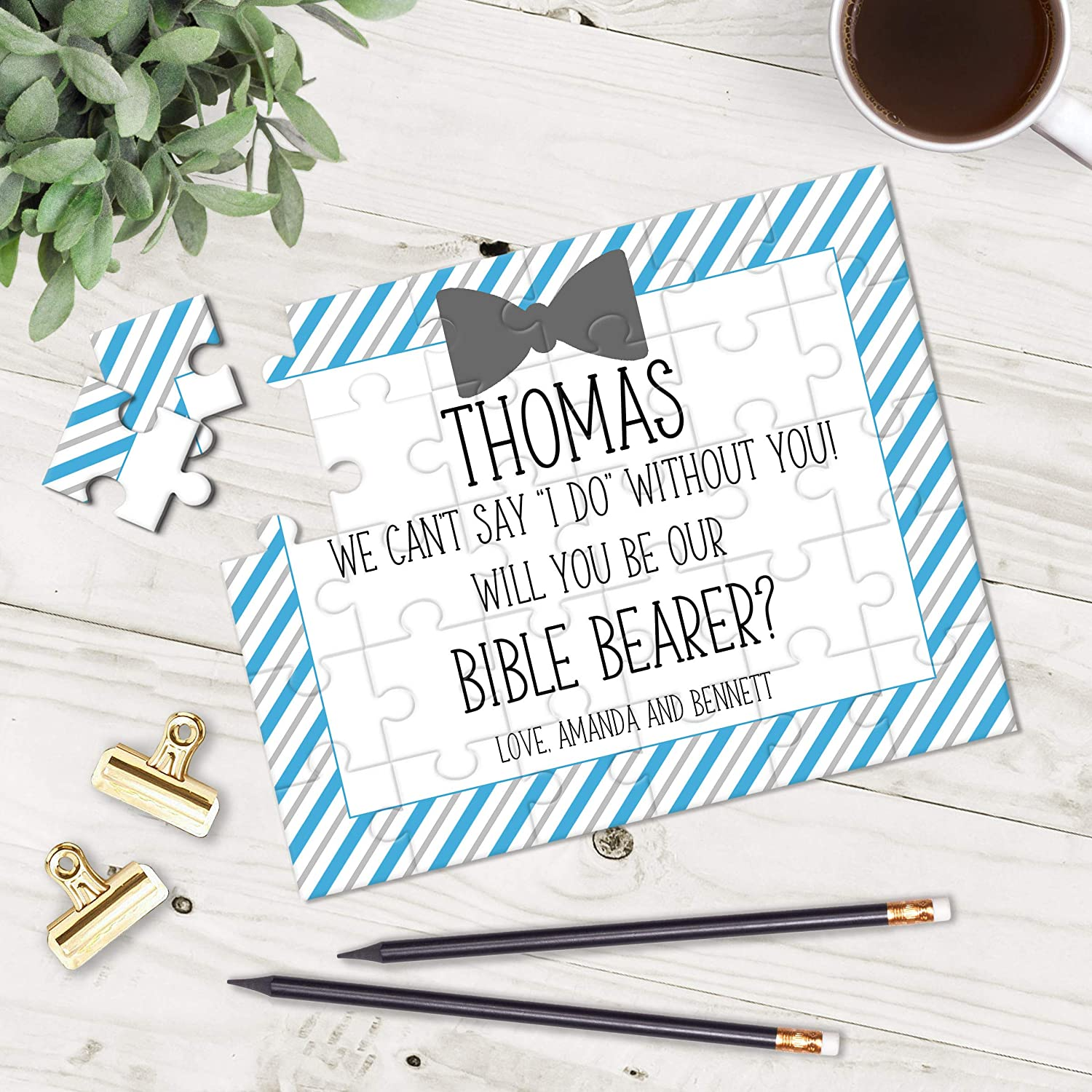 Personalized Bible Bearer Puzzle - Puzzle Proposal - Asking Ring Bearer- Wedding Announcement - CUSTOM