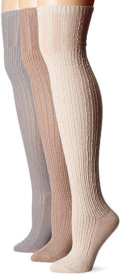 4c86e9e75e3 Muk Luks Women s 3 Pair Pack Open Pointelle Over The Knee Socks ...
