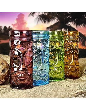 Tazas de cristal coloreado Tiki 14 oz/400 ml - - juego de 4 tazas