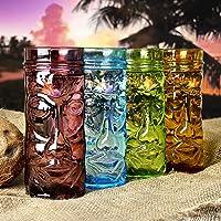 Tazas de cristal coloreado Tiki 14 oz/400 ml