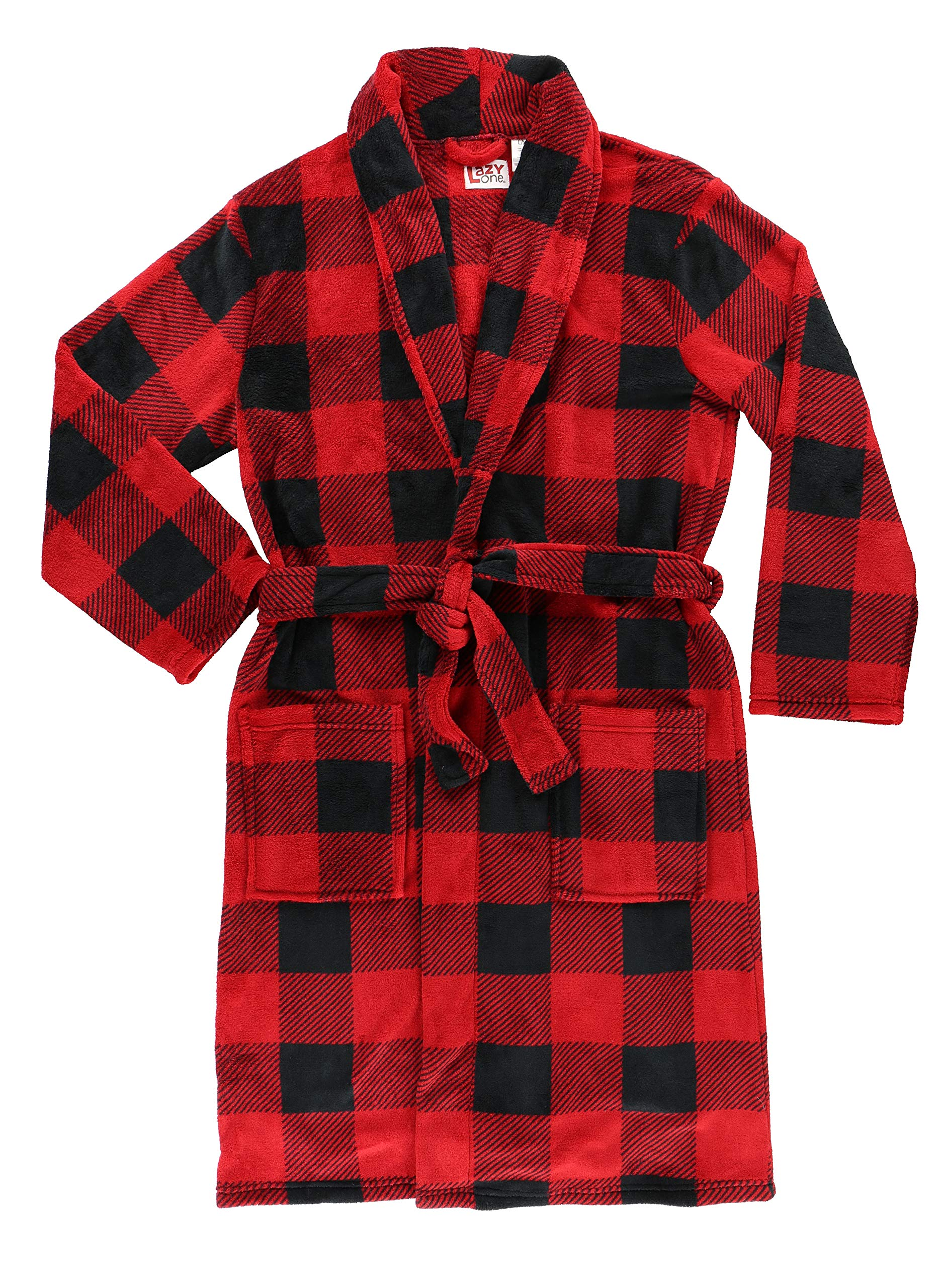 Moose Plaid Soft Bathrobes for Men and Women by LazyOne | Animal Pattern Plush Robes Unisex (L/XL)