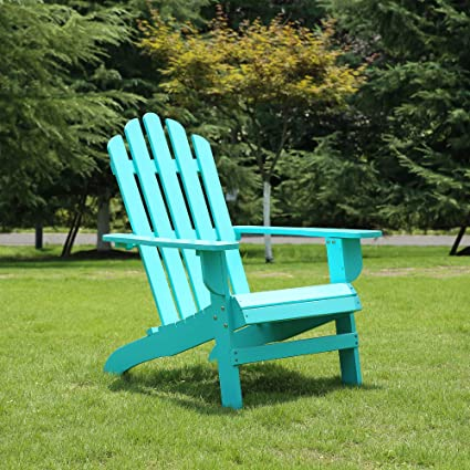 Azbro SongSen Outdoor Wooden Fashion Adirondack Chair/Muskoka Chairs Patio  Deck Garden Furniture,Turquoise