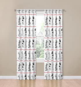 "Disney Mickey Mouse Jersey White 4 Piece 84"" Curtain/Drapes Set (2 Panels, 2 Tiebacks)"