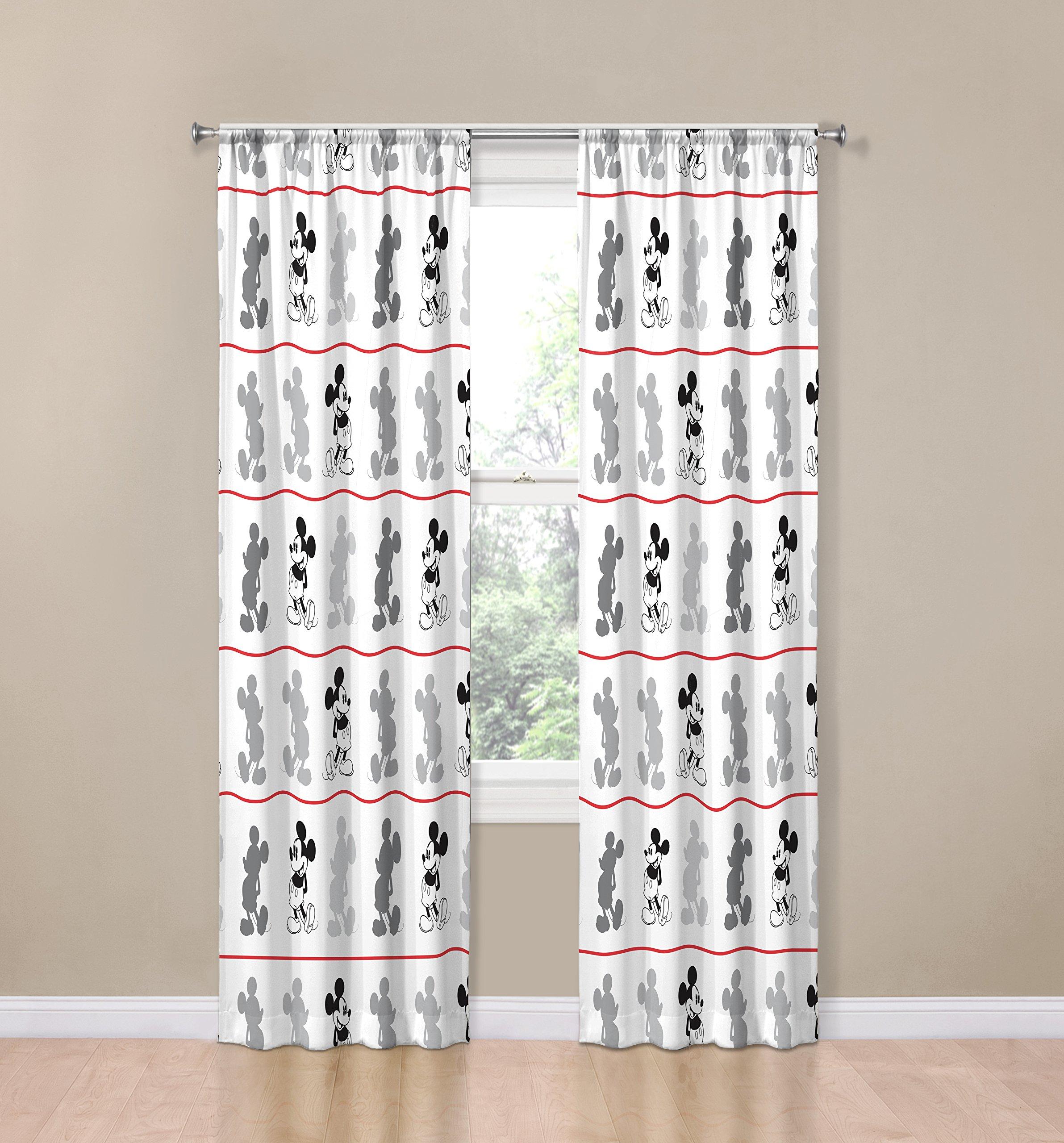 Disney Mickey Mouse Jersey White 4 Piece 84'' Curtain/Drapes Set (2 Panels, 2 Tiebacks)