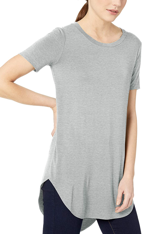 Daily Ritual Womens Jersey Short-Sleeve Open Crew Neck Tunic