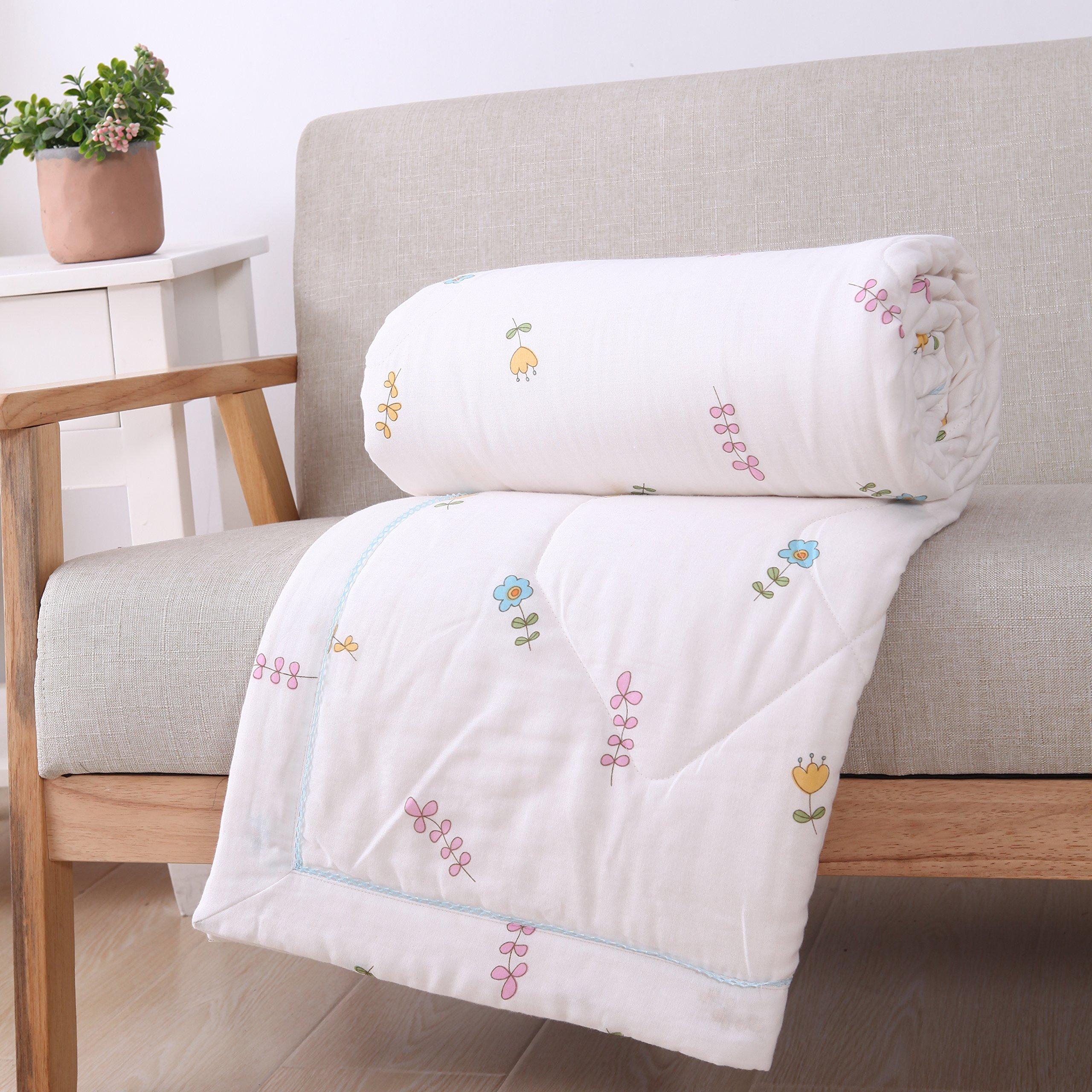 Scientific Sleep Boys & Girls Cartoon Flower Muslin Cotton Quilt Comforter Lightweight Bedding Coverlet Throw Blanket Crib/Twin/Full for Kid's Bedroom Decoration Gift (Twin 59'' X 78'', flower)
