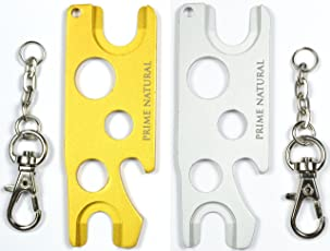 Essential Oil Opener Key Tool - 2 Pack in Metal (Matte Golden & Matte Silver) Essential Oils Bottle Opener to Remove Roller Balls Caps Rollers Fitments Euro Droppers Fits All Brands