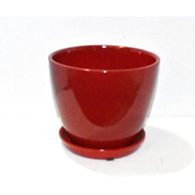 "New 7.25"" Dark Red Plant Planter Pot & Saucer Ceramic : Garden & Outdoor"
