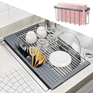 """BAMEOS Roll Up Dish Drying Rack Over The Sink, 20""""L x 11""""W x 4.72""""H Foldable Stainless Steel Dish Drying Rack with Utensil Holder & Sponge Holder for Kitchen Sink (Gray)"""