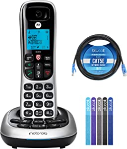 Motorola CD4011 DECT 6.0 Cordless Phone with Digital Answering Machine and Call Block Bundle with Blucoil 10-FT 1 Gbps Cat5e Cable, and 5-Pack of Reusable Cable Ties