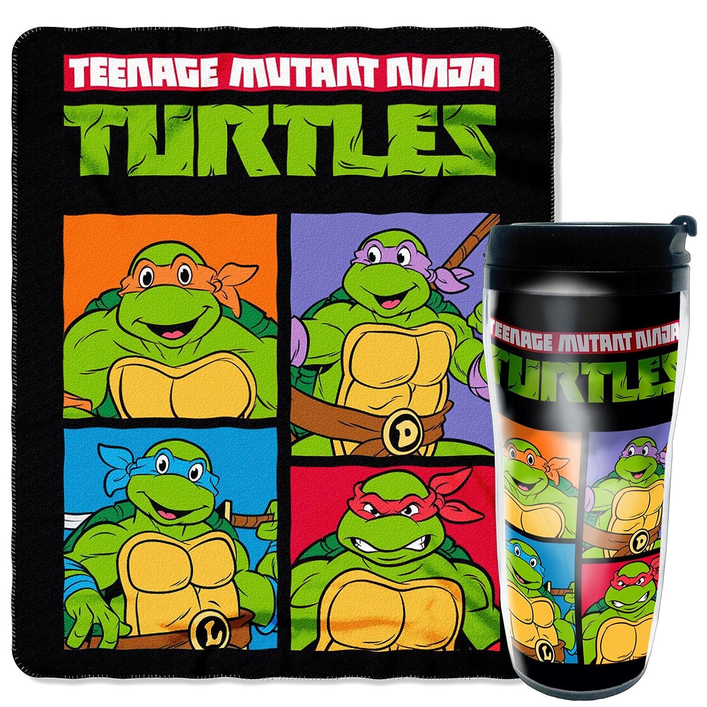Nickelodeon's Teenage Mutant Ninja Turtles, Retro Fighters 16 oz Travel Mug & 50 x 60 Fleece Throw Blanket Gift Set, Multi Color The Northwest Company 1TNT229000002RET