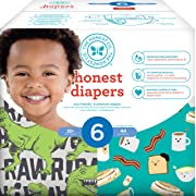 Honest Baby Diapers, Club Box, T-Rex & Breakfast, Size 6, 44 Count
