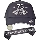 75th Birthday Gifts for Men, 75th Birthday Hat and Sash Men, 75 Never Looked So Good Baseball Cap and Sash, 75th Birthday Par