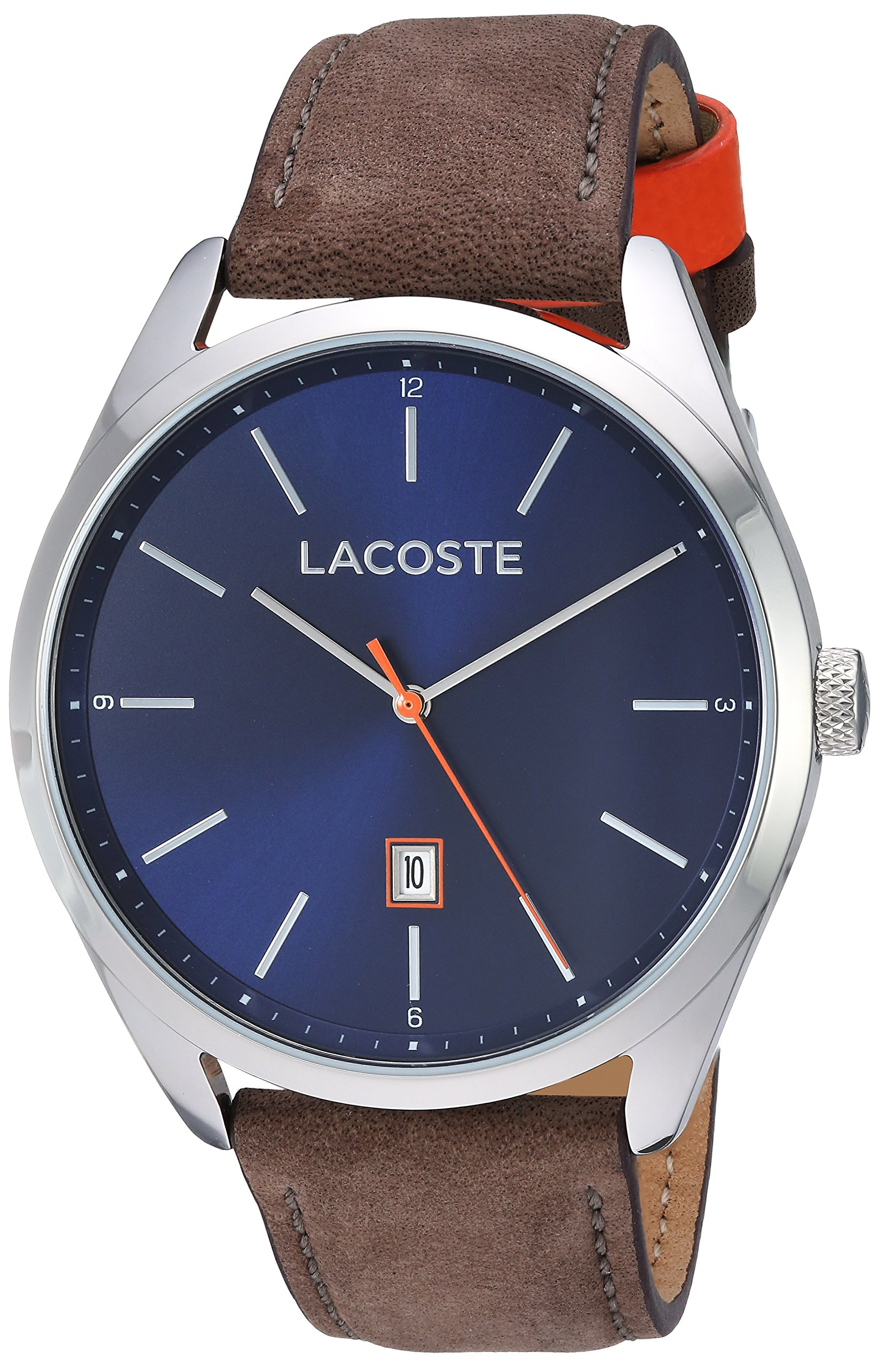 Lacoste Men's San Diego Stainless Steel Quartz Watch with Suede Strap, Brown, 22 (Model: 2010910) by Lacoste
