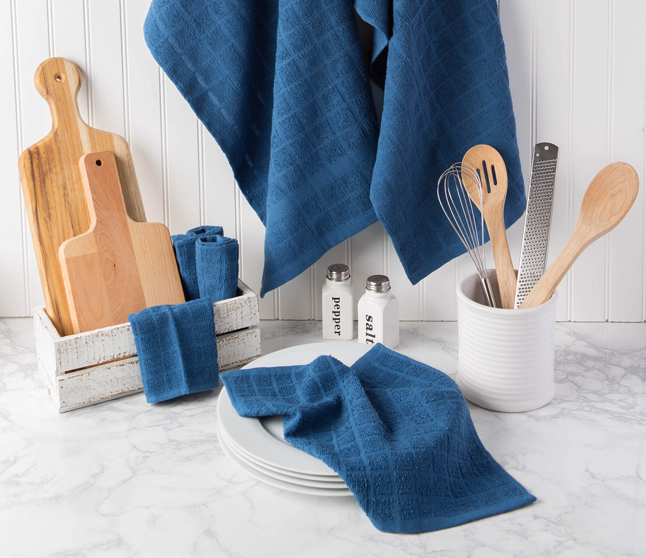 DII Cotton Terry Windowpane Dish Cloths, 12 x 12'' Set of 6, Machine Washable and Ultra Absorbent Kitchen Bar Towels-Solid Blue by DII (Image #6)
