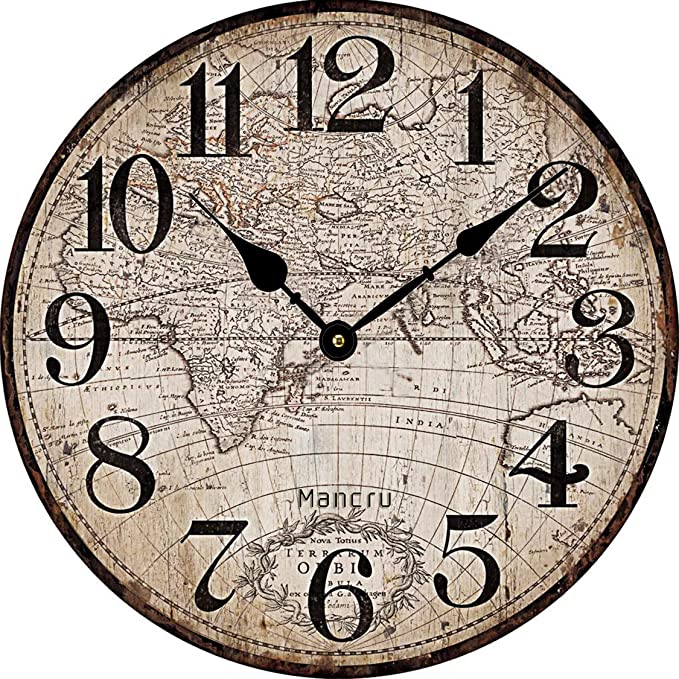Samgu 1CM d épaisseur Horloge Murale Ronde Grande Taille en Style Vintage  muet Horloge Murale 1-25cm diamètre  Amazon.fr  Cuisine   Maison 90a78b78941a
