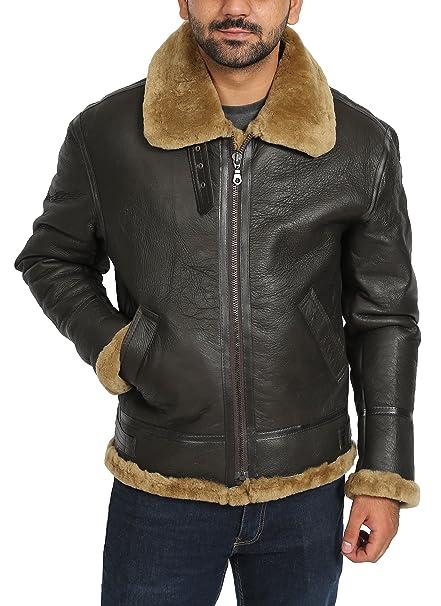 House Of Leather Chaqueta de Cuero de Vuelo de Piel de Oveja Real Irvin B3 Piloto Aviador Jengibre Shearling
