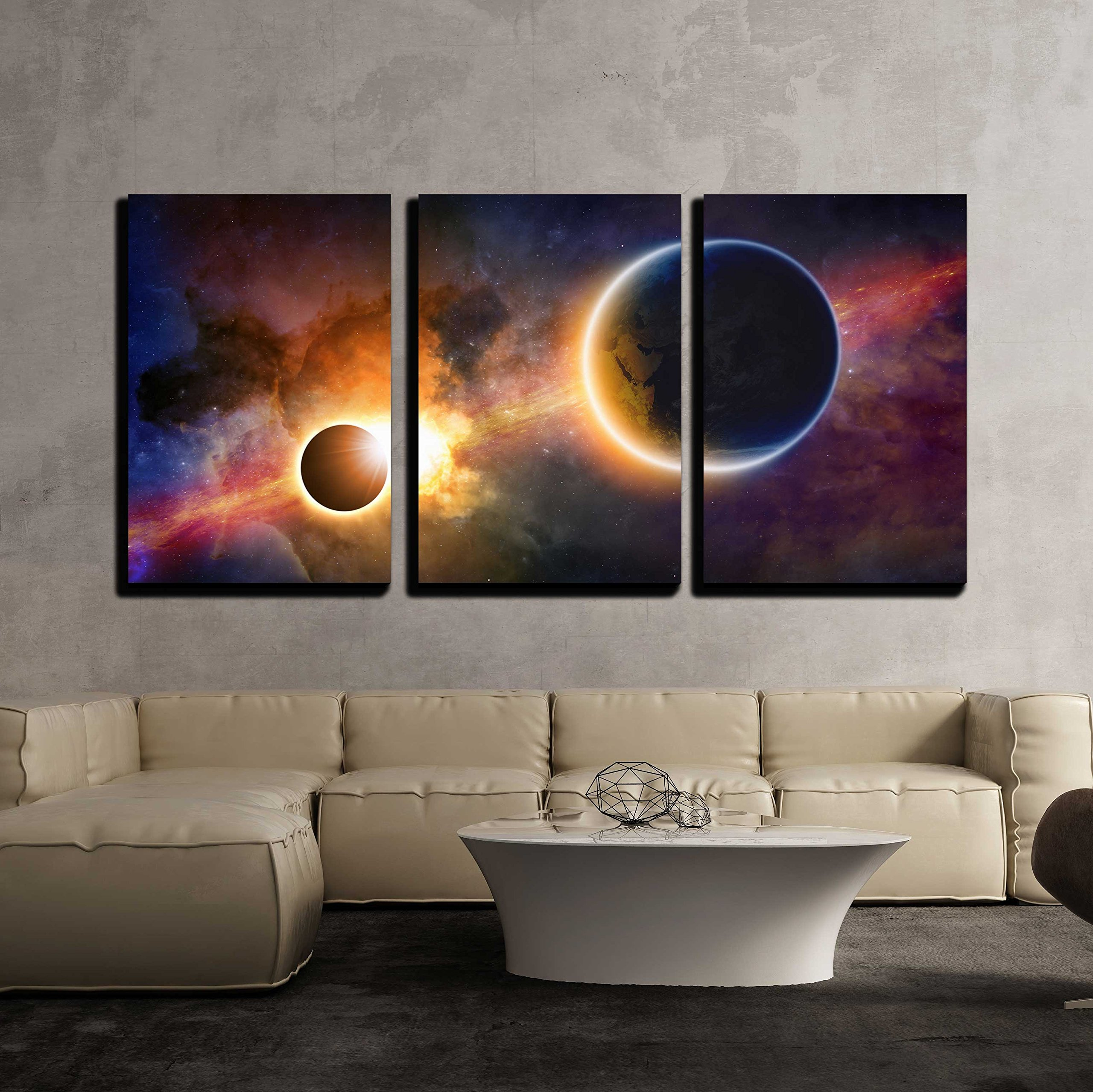 wall26 - 3 Piece Canvas Wall Art - Abstract Scientific Background - Glowing Planet Earth in Space - Modern Home Decor Stretched and Framed Ready to Hang - 24''x36''x3 Panels