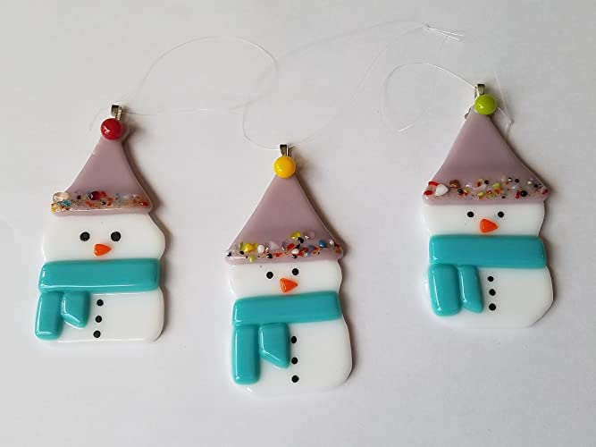 Fused Glass Snowmen Holiday Christmas Ornament