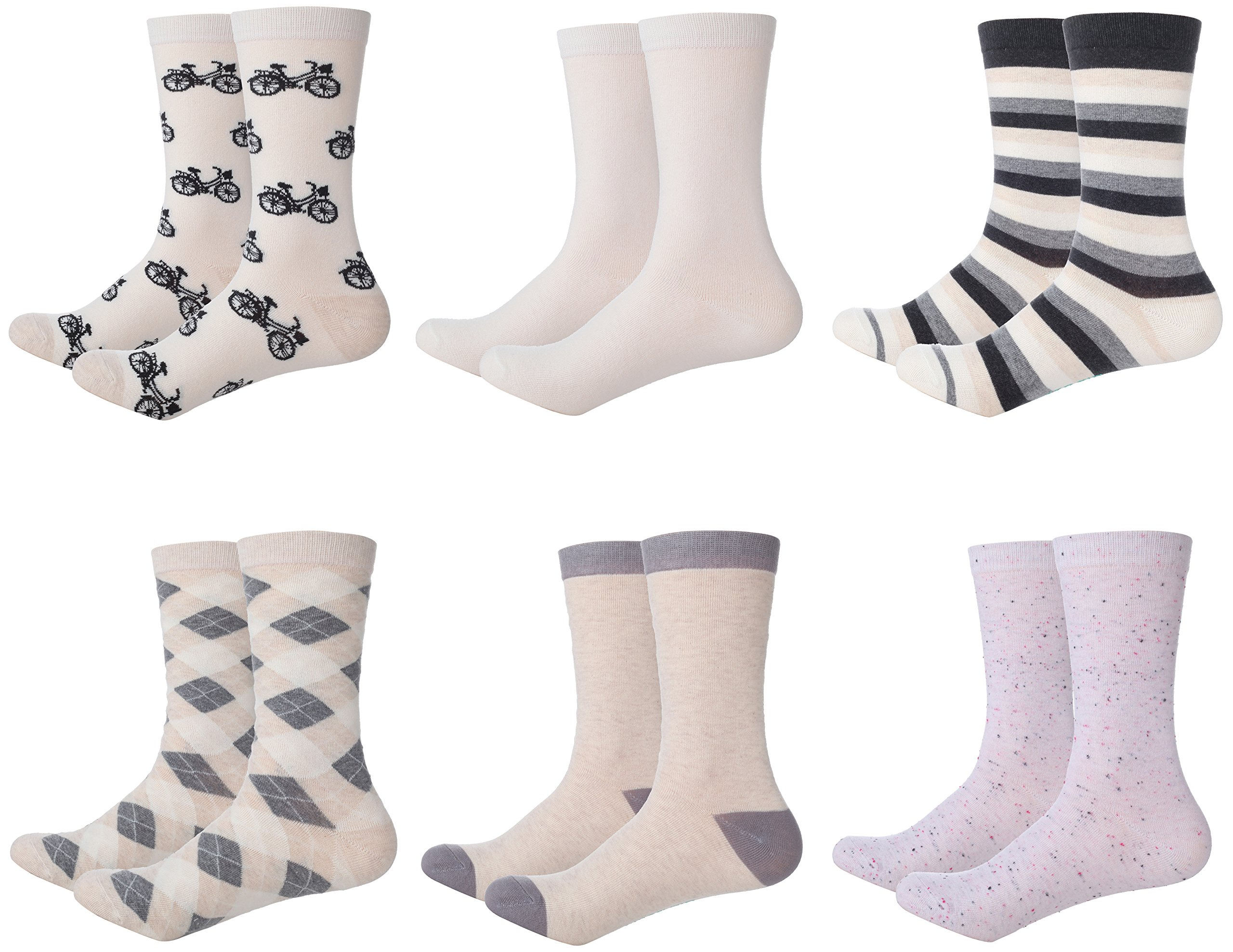 Mio Marino Womens Dress Socks - Colorful Patterned Socks for Women - 6 Pack Style 4-9-11