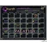 Refrigerator Magnetic Dry Erase Calendar Chalkboard Design Waterproof Flexible Magnet Board Black Fluorescent Magnetic Organizer Board Fridge Calendar Magnet Chalk Marker Board Planner Monthly