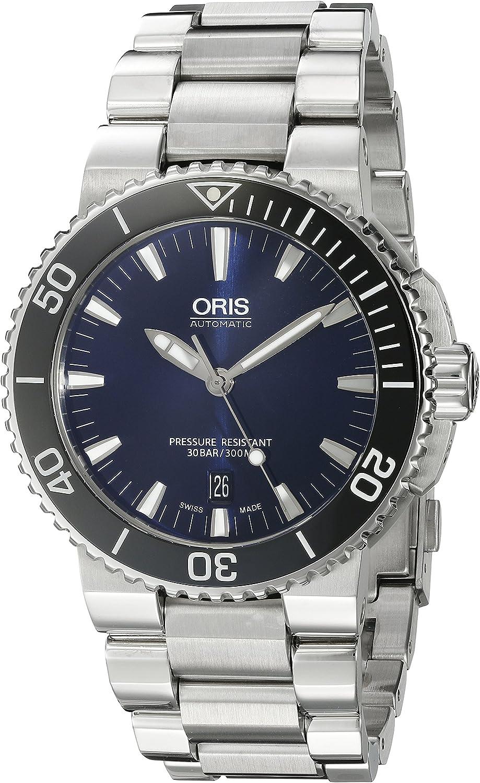 Oris 'Aquis' Reloj Suizo automático de Buceo de Acero Inoxidable para Hombre, Color: Plateado (Modelo: 73376534135MB)