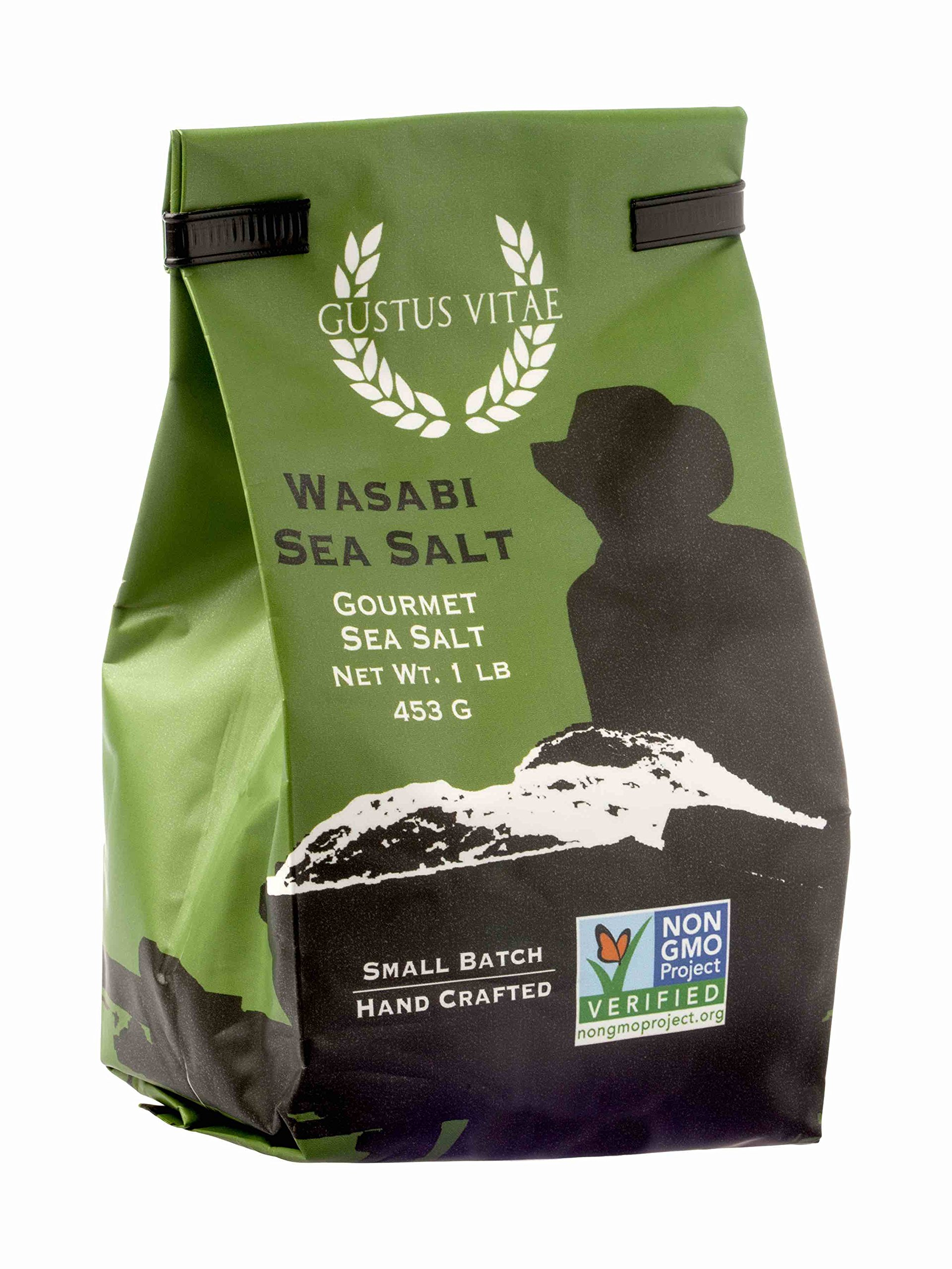 Wasabi Sea Salt | Non GMO Verified | All Natural | Bulk Seasoning | 1LB | Crafted in Small Batches by Gustus Vitae | #A4