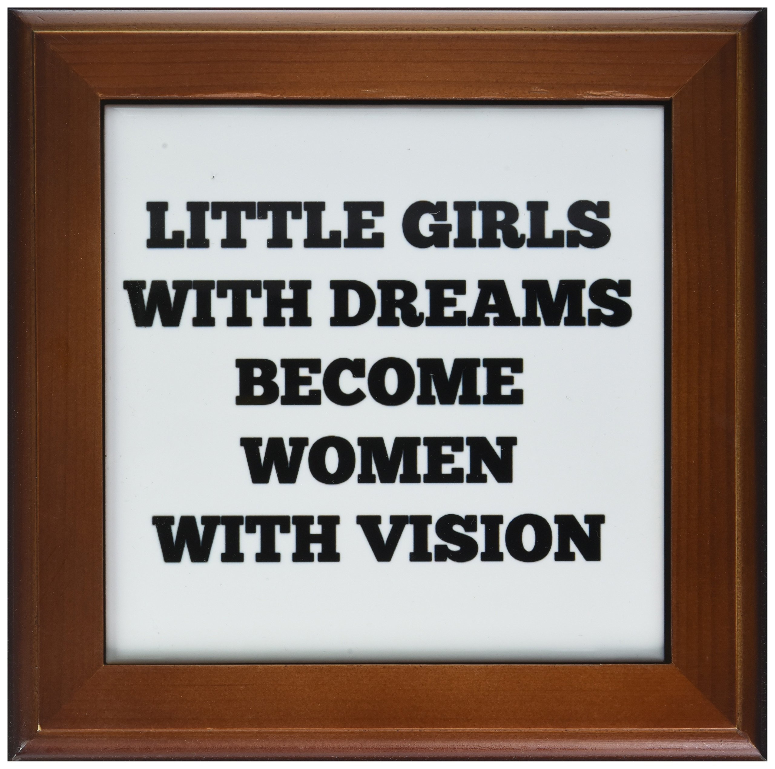 3dRose ft_201958_1 Little Girls with Big Dreams Become Women with Vision Black on White Framed Tile, 8 by 8-Inch by 3dRose