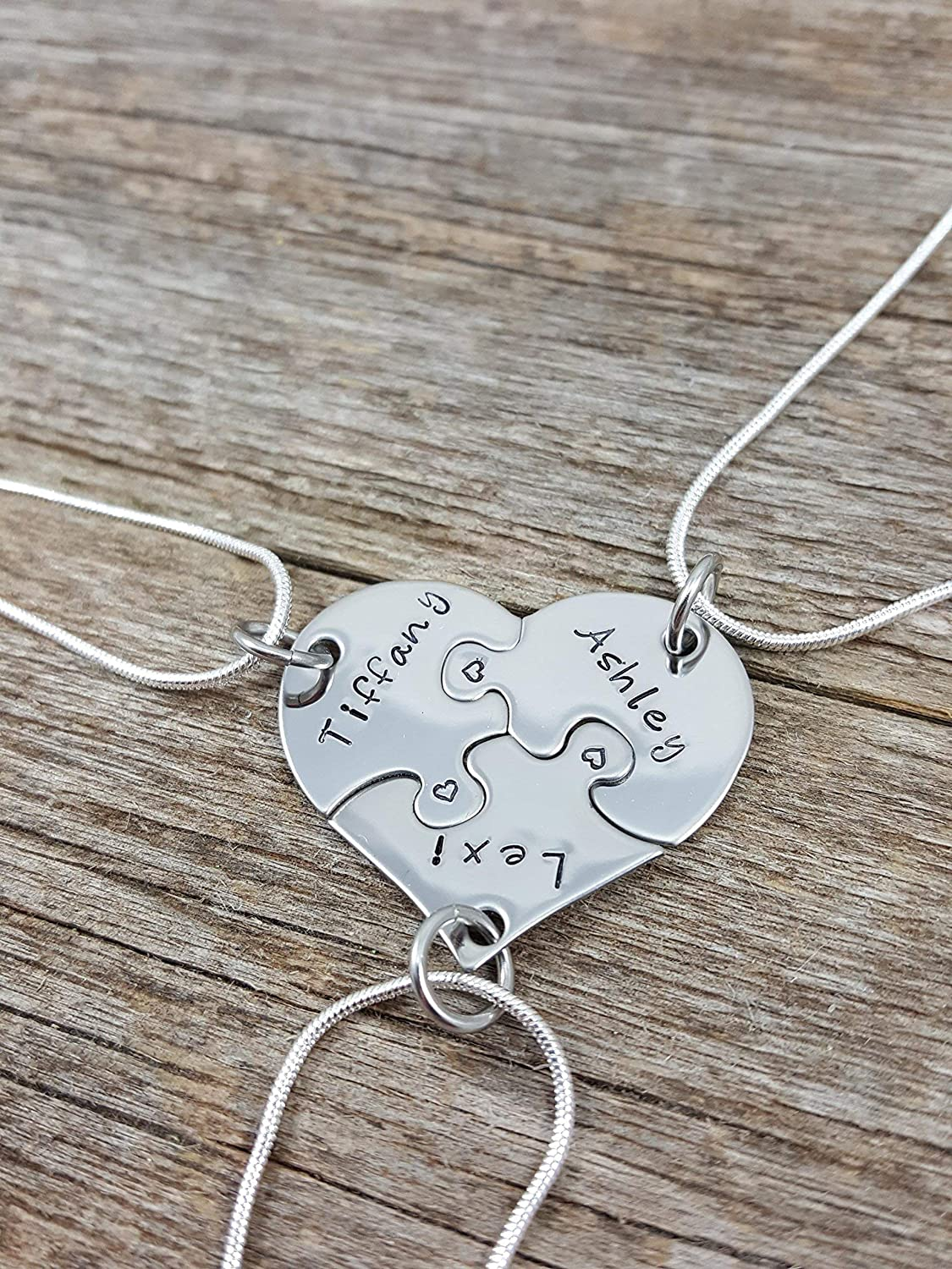 20c429817 Amazon.com: Best Friends Necklace set, 3 piece heart puzzle necklace set,  Sorority sisters jewelry, Sister gifts, Hand stamped jewelry, Custom  necklaces, ...