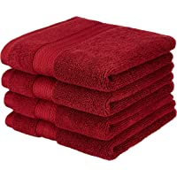 Amazon Brand - Solimo 100% Cotton 4 Piece Hand Towel Set, 575 GSM