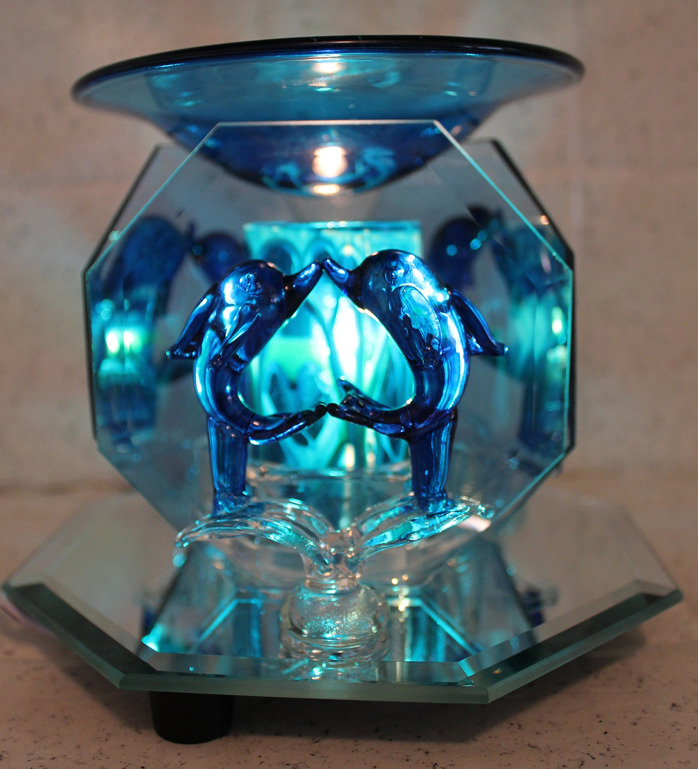 Electric Oil Warmer Tart Burner 2 Kissing Dolphins, 3 Sided Mirror, Dark Blue by Aroma Lamps (Image #1)