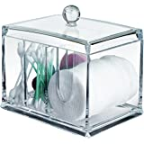 Cottonball Qtips Cosmetic Makeup Organizer - Clear Acrylic 4 stoarge Compartments AcryliCase